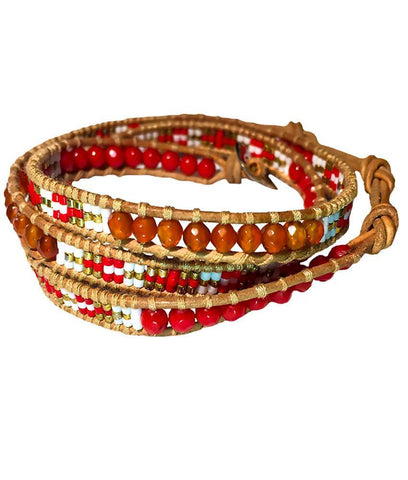 Wrap Bracelet - Red And Orange Indian Pattern Wrap Bracelet