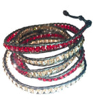 Wrap Bracelet - Ruby Red And Champagne Wrap Bracelet