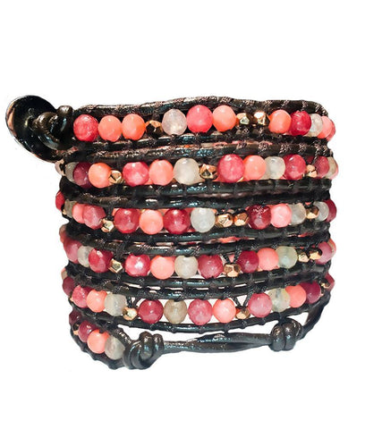 Wrap Bracelet - Shades Of Pink With Gold Wrap Bracelet