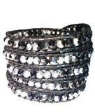 Wrap Bracelet - Silver And Black Wrap Bracelet