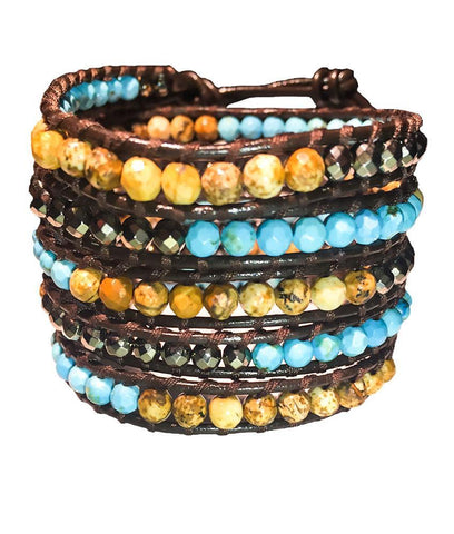 Wrap Bracelet - Turquoise And Earth Vs Metallic Gemstone Wrap Bracelet
