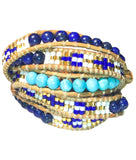Wrap Bracelet - Turquoise And Gemstones In Indian Pattern Wrap Bracelet