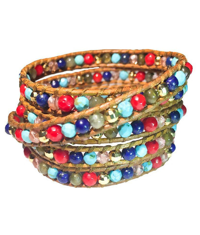 Wrap Bracelet - Turquoise Red Pink Gold Blue Wrap Bracelet