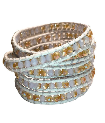 Wrap Bracelet - White And Gold Crystal Wrap Bracelet