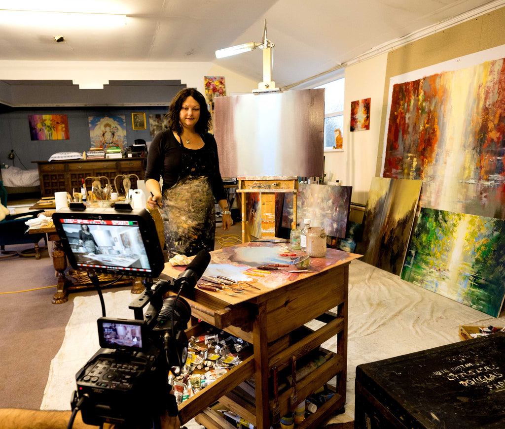 Working with Yasha Malekazad in my studio in Wales .. short movie about my art coming soon...