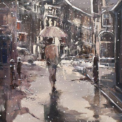 Limited Edition Print Ready To Hang - Eva Czarniecka Umbrella Oil paintings Rain London Streets Pallets Knife Limited Edition Prints Impressionism Art Contemporary