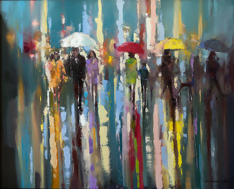 'Under White Umbrella' Limited Edition Print Ready To Hang - Eva Czarniecka Umbrella Oil paintings Rain London Streets Pallets Knife Limited Edition Prints Impressionism Art Contemporary