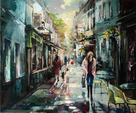 'Spring in Richmond', 2016 Contemporary Limited Edition Print Ready To Hang - Eva Czarniecka Umbrella Oil paintings Rain London Streets Pallets Knife Limited Edition Prints Impressionism Art Contemporary