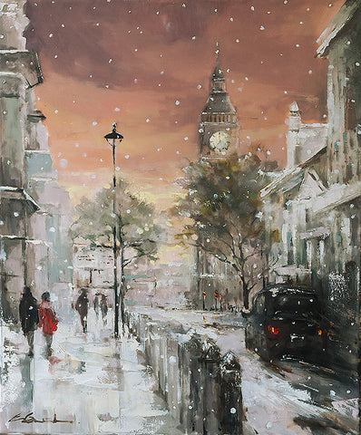'A Stroll to Westminster' 2014 Limited Edition Print - Eva Czarniecka Umbrella Oil paintings Rain London Streets Pallets Knife Limited Edition Prints Impressionism Art Contemporary