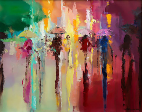 'STROLL THROUGH RAINBOW'  Hand Embellished Limited Edition Print on Canvas - Eva Czarniecka Umbrella Oil paintings Rain London Streets Pallets Knife Limited Edition Prints Impressionism Art Contemporary