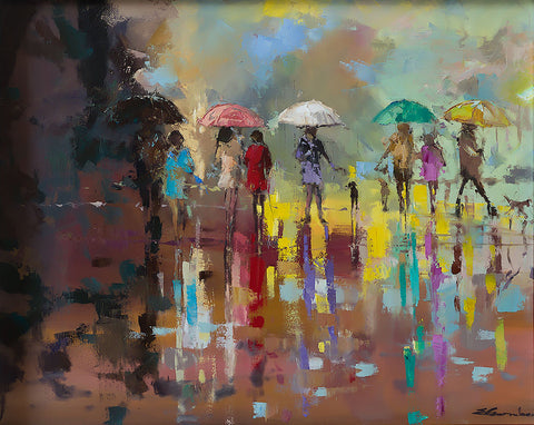'Rainbow Beach'  Contemporary Limited Edition Print Ready To Hang - Eva Czarniecka Umbrella Oil paintings Rain London Streets Pallets Knife Limited Edition Prints Impressionism Art Contemporary