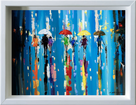 'Under Red Umbrella', 2015 Limited Edition Print Ready To Hang - Eva Czarniecka Umbrella Oil paintings Rain London Streets Pallets Knife Limited Edition Prints Impressionism Art Contemporary