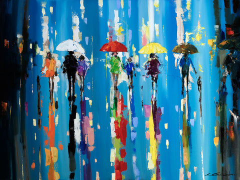 'Under Red Umbrella', 2015 Limited Edition Print Ready To Hang - Eva Czarniecka Art