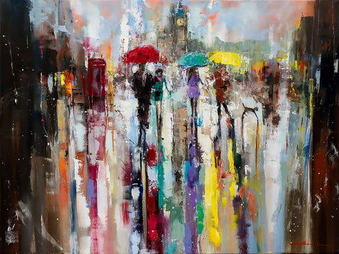 'Romance in London' Hand Embellished Limited Edition Print on Canvas - Eva Czarniecka Umbrella Oil paintings Rain London Streets Pallets Knife Limited Edition Prints Impressionism Art Contemporary