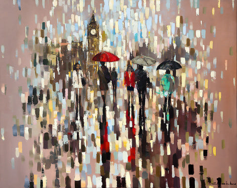 'Girl in Red II', 2015 Limited Edition Print Ready To Hang - Eva Czarniecka Umbrella Oil paintings Rain London Streets Pallets Knife Limited Edition Prints Impressionism Art Contemporary