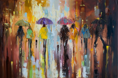 'Autumn in Westminster', 2015 Limited Edition Print - Eva Czarniecka Umbrella Oil paintings Rain London Streets Pallets Knife Limited Edition Prints Impressionism Art Contemporary