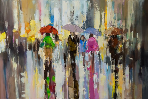 'Sparking Light', 2015 Contemporary Limited Edition Print Ready To Hang - Eva Czarniecka Umbrella Oil paintings Rain London Streets Pallets Knife Limited Edition Prints Impressionism Art Contemporary