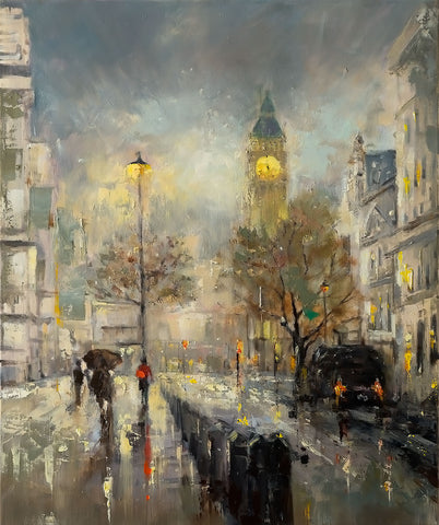 'London Spring', 2015 Limited Edition Prints Ready To Hang - Eva Czarniecka Umbrella Oil paintings Rain London Streets Pallets Knife Limited Edition Prints Impressionism Art Contemporary
