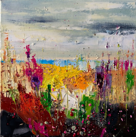 'Sea of Flowers', 2015 Contemporary Limited Edition Print Ready To Hang - Eva Czarniecka Umbrella Oil paintings Rain London Streets Pallets Knife Limited Edition Prints Impressionism Art Contemporary