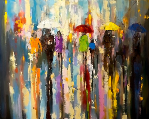 'A Rainy Day Walk', 2015 Limited Edition Print Ready To Hang - Eva Czarniecka Umbrella Oil paintings Rain London Streets Pallets Knife Limited Edition Prints Impressionism Art Contemporary