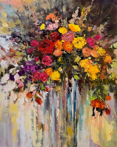 'Autumn Bunch', 2015 Limited Edition Prints - Eva Czarniecka Umbrella Oil paintings Rain London Streets Pallets Knife Limited Edition Prints Impressionism Art Contemporary