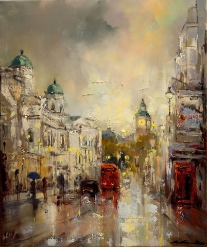 'London Winter', 2015 Contemporary Limited Edition Print - Eva Czarniecka Umbrella Oil paintings Rain London Streets Pallets Knife Limited Edition Prints Impressionism Art Contemporary