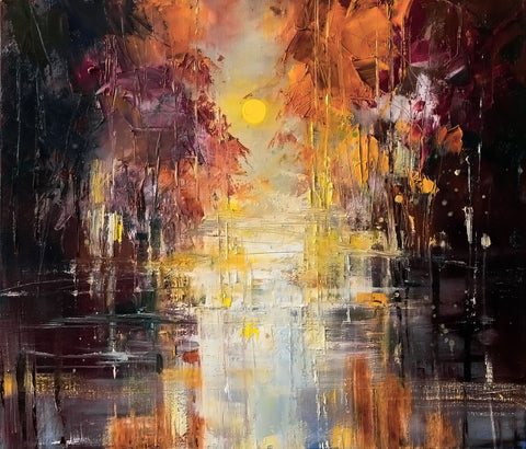 'Hazy Shades of Autumn'Limited Edition Canvas Print Ready To Hang - Eva Czarniecka Umbrella Oil paintings Rain London Streets Pallets Knife Limited Edition Prints Impressionism Art Contemporary