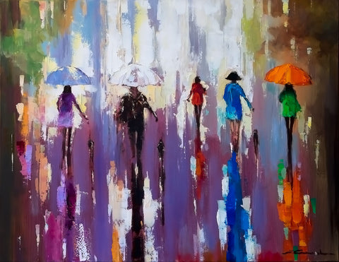 'Spring Burst', 2015 Contemporary Limited Edition Print Ready To Hang - Eva Czarniecka Umbrella Oil paintings Rain London Streets Pallets Knife Limited Edition Prints Impressionism Art Contemporary