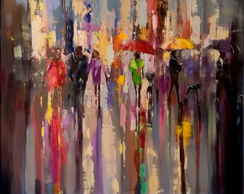 'It's in The Rain', 2015 Limited Edition Print Ready To Hang - Eva Czarniecka Umbrella Oil paintings Rain London Streets Pallets Knife Limited Edition Prints Impressionism Art Contemporary