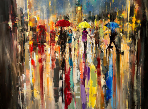 'Starry Night Over London' Contemporary Limited Edition Print Ready To Hang - Eva Czarniecka Umbrella Oil paintings Rain London Streets Pallets Knife Limited Edition Prints Impressionism Art Contemporary