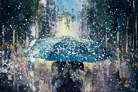 'FREEDOM' Hand Embellished Limited Edition Print on Canvas - Eva Czarniecka Umbrella Oil paintings Rain London Streets Pallets Knife Limited Edition Prints Impressionism Art Contemporary