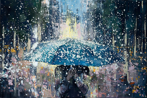 'Freedom', 2016 Limited Edition Print Ready To Hang - Eva Czarniecka Umbrella Oil paintings Rain London Streets Pallets Knife Limited Edition Prints Impressionism Art Contemporary