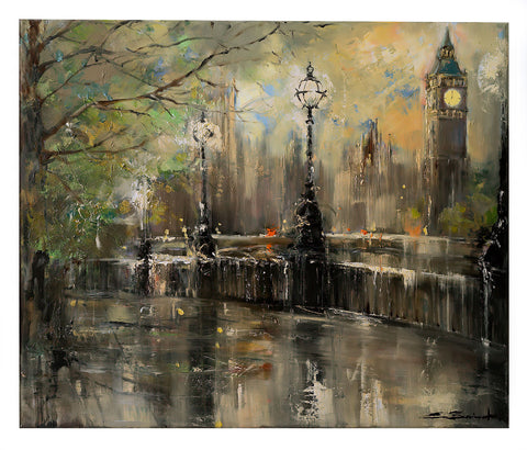 'Winter Evening at Westminster', 2016 Limited Edition Print - Eva Czarniecka Umbrella Oil paintings Rain London Streets Pallets Knife Limited Edition Prints Impressionism Art Contemporary