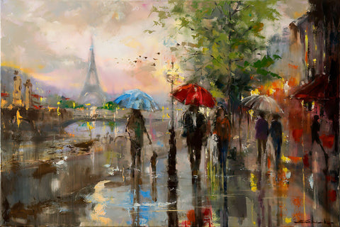 'Romance in Paris', 2016 Contemporary Limited Edition Print Ready To Hang - Eva Czarniecka Umbrella Oil paintings Rain London Streets Pallets Knife Limited Edition Prints Impressionism Art Contemporary