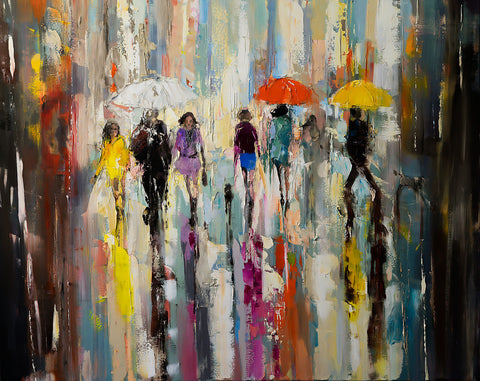 'Walk in the City', 2016 oil on canvas - Eva Czarniecka Umbrella Oil paintings Rain London Streets Pallets Knife Limited Edition Prints Impressionism Art Contemporary