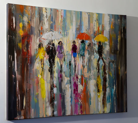 'Walk in the City', 2016 Limited Edition Giclee Print - Eva Czarniecka Umbrella Oil paintings Rain London Streets Pallets Knife Limited Edition Prints Impressionism Art Contemporary