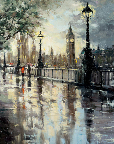 'Big Ben', 2016 Limited Edition Print Ready To Hang - Eva Czarniecka Umbrella Oil paintings Rain London Streets Pallets Knife Limited Edition Prints Impressionism Art Contemporary