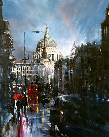 'London St.Pauls', 2016 Contemporary Limited Edition Print Ready To Hang - Eva Czarniecka Umbrella Oil paintings Rain London Streets Pallets Knife Limited Edition Prints Impressionism Art Contemporary