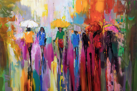'First Day of Summer', 2016 Limited Edition Print Ready To Hang - Eva Czarniecka Umbrella Oil paintings Rain London Streets Pallets Knife Limited Edition Prints Impressionism Art Contemporary