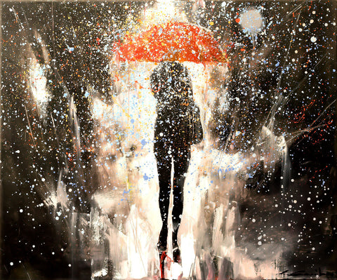'Walking Alone' 2016 Contemporary Limited Edition Print Ready To Hang - Eva Czarniecka Umbrella Oil paintings Rain London Streets Pallets Knife Limited Edition Prints Impressionism Art Contemporary