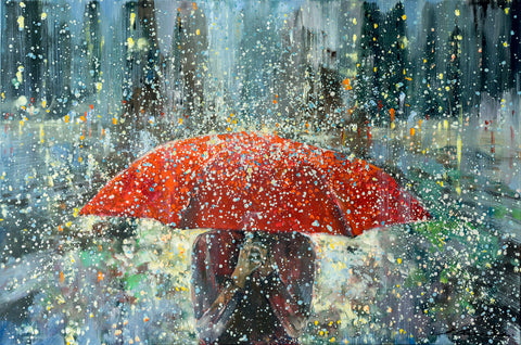 'Freedom in The City'  Limited Edition Print Ready To Hang - Eva Czarniecka Umbrella Oil paintings Rain London Streets Pallets Knife Limited Edition Prints Impressionism Art Contemporary