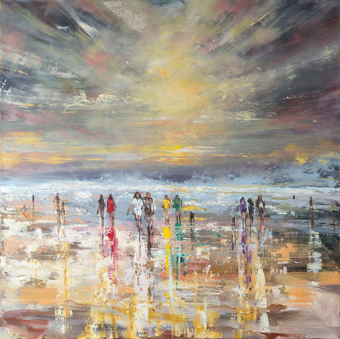 'Beach Explorers' 2016 Oil on Canvas, Ready to Hang - Eva Czarniecka Umbrella Oil paintings Rain London Streets Pallets Knife Limited Edition Prints Impressionism Art Contemporary