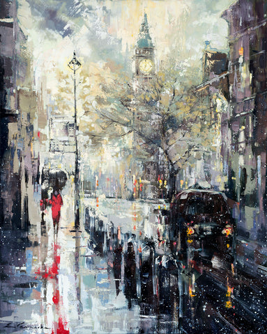 'London in The Rain' , 2016 Oil on Canvas Ready To Hang - Eva Czarniecka Umbrella Oil paintings Rain London Streets Pallets Knife Limited Edition Prints Impressionism Art Contemporary