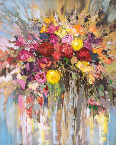 'Flowers in Bloom'  2016 Oil Picture Ready to Hang Large - Eva Czarniecka Umbrella Oil paintings Rain London Streets Pallets Knife Limited Edition Prints Impressionism Art Contemporary