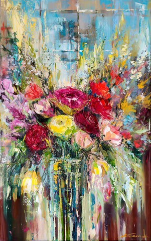 'Roses in the Window' 2016 Oil on Canvas Ready to Hang - Eva Czarniecka Umbrella Oil paintings Rain London Streets Pallets Knife Limited Edition Prints Impressionism Art Contemporary