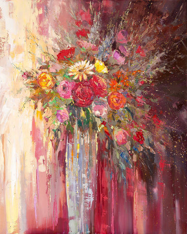 'Summer Flowers in Vase' 2016 Oil Picture Ready to Hang Large - Eva Czarniecka Umbrella Oil paintings Rain London Streets Pallets Knife Limited Edition Prints Impressionism Art Contemporary