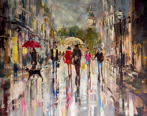 'LONDON STREET'S' Limited Edition Print - Eva Czarniecka Umbrella Oil paintings Rain London Streets Pallets Knife Limited Edition Prints Impressionism Art Contemporary