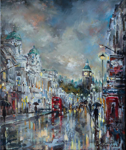 'Westminster Dusk' 2016 Limited Edition Print - Eva Czarniecka Umbrella Oil paintings Rain London Streets Pallets Knife Limited Edition Prints Impressionism Art Contemporary