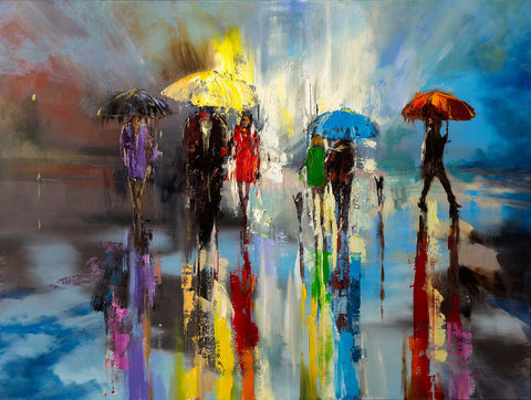 'Daily Walk'  (2017) Oil Picture Ready To Hang. - Eva Czarniecka Umbrella Oil paintings Rain London Streets Pallets Knife Limited Edition Prints Impressionism Art Contemporary