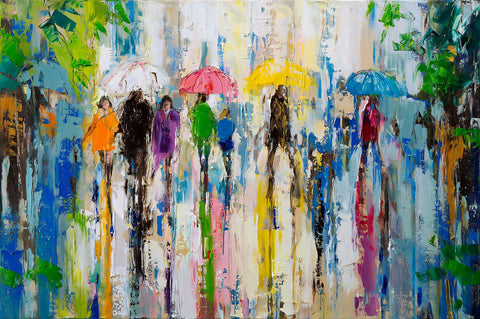 'April Showers' Modern Oil Painting, Canvas Ready to Hang, Ideal Gift or Home Decor - Eva Czarniecka Umbrella Oil paintings Rain London Streets Pallets Knife Limited Edition Prints Impressionism Art Contemporary
